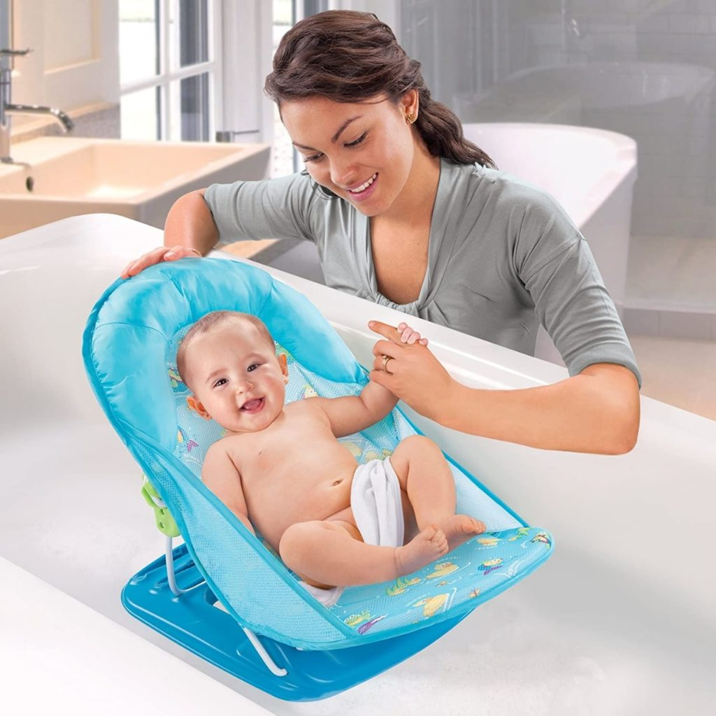 Summer Deluxe Baby Bather Infant Blue Baby bath chair summer infant yellow and blue