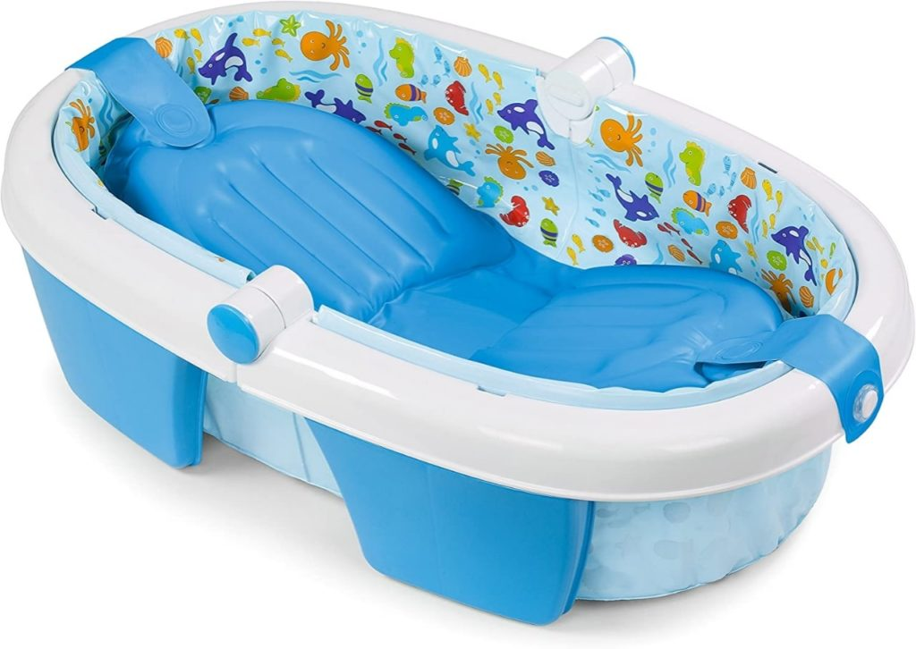 Baby bath chair summer infant yellow and blue