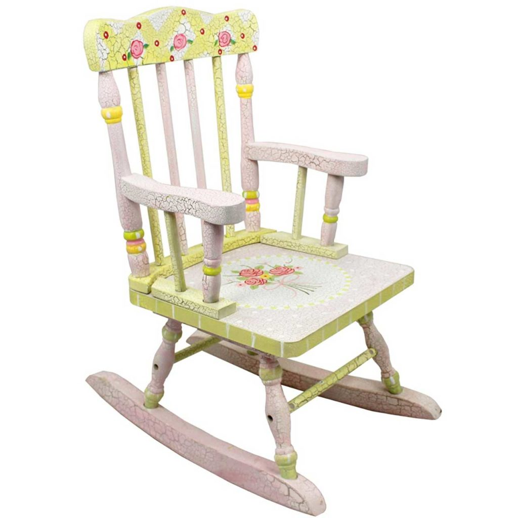 Crackled Rose Hand Crafted Kids Wooden Rocking Chair Best Personalized baby rocking chair