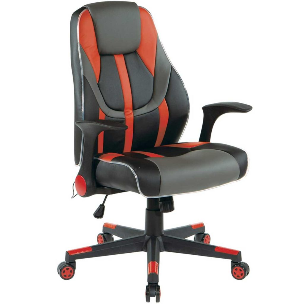 OSP Home Furnishings Output Mid-Back LED-Lit Gaming Chair Best Gaming Chair under 150 Dollars 2020 Best Computer Gaming Chair SeCoBuy