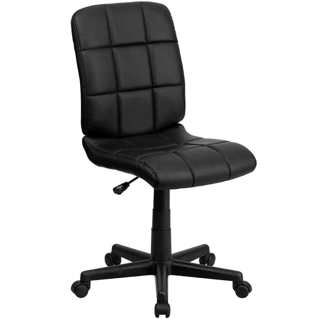 Best Armless Office Chair 2020 SeCoBuy Flash Furniture Mid-Back Black Quilted Vinyl Swivel Task Office Chair